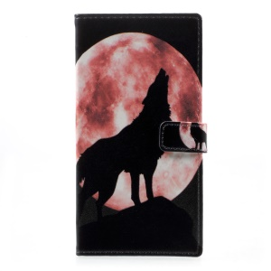 Patterned Wallet Leather Phone Case for HTC Desire 650 - Wolf Howling at the Moon