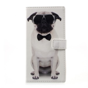 Patterned Leather Wallet Mobile Cover for HTC Desire 650 - Dog Wearing Sunglasses
