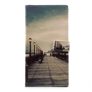 Printing Pattern PU Leather Stand Wallet Cover for HTC Desire 650 - Dock at Sunset