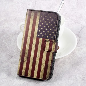 Patterned Leather Card Slots Stand Shell Case for HTC U Play - The American Flag