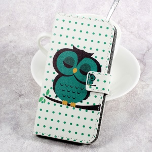Pattern Printing Leather Cover with Wallet Slots for HTC U Play - Napping Owl