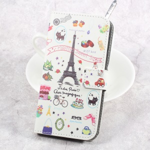 Printing Pattern Leather Wallet Mobile Cover for HTC U Play - Palettes Sweet Street