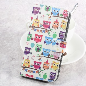 Pattern Printing Leather Wallet Flip Phone Case for HTC U Play - Multi-color Owls