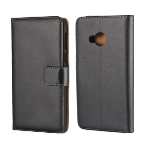 Genuine Split Leather Wallet Stand Mobile Cover for HTC U Play - Black