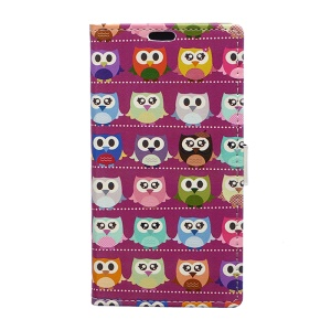 Pattern Printing PU Leather Wallet Stand Case for HTC U11 - Multi Owls Purple Background