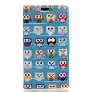 Patterned Printing PU Leather Mobile Phone Case for HTC U11 - Multi Owls Blue Background