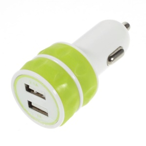 ES-03 3.1A Two USB Car Charger for iPhone iPad Samsung HTC Sony Nokia Etc - Yellowgreen