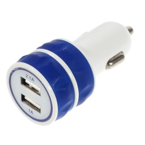 ES-03 3.1A Two USB Car Charger for iPhone iPad Samsung HTC Sony Nokia Etc - Blue