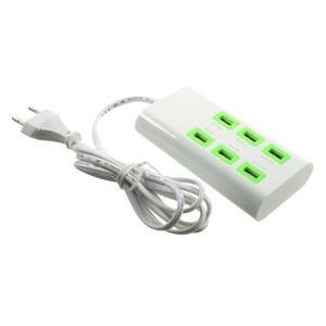 7A 6 USB Ports Wall Charger Power Adapter with EU Plug for iPhone iPad Samsung - White