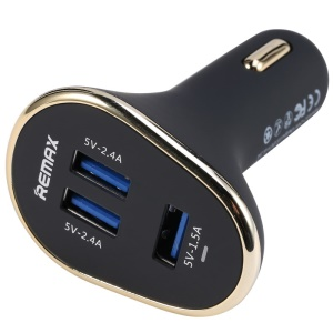 REMAX 6.3A 3-port USB IQ Car Charger Adapter for Smartphones and Tablet PCs - Black