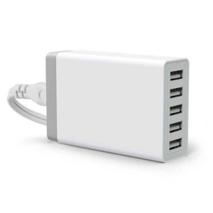 Smart 5-Port USB Wall Charger Station de charge de bureau 8A - blanc