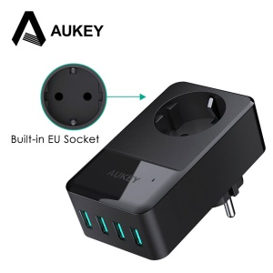AUKEY 4-Port USB Charger with Built-in EU Socket Universal Travel Wall Charger (PA-S12) - EU Plug