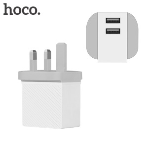 HOCO C23A 5V 2.4A Dual USB Port Travel Wall Charger for iPhone Samsung - UK Plug