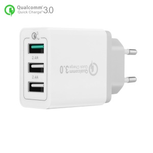 3 Ports Quick Charger QC 3.0 30W USB Charger Travel Adapter for iPhone Samsung Huawei - EU Plug