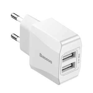 BASEUS 2.1A Dual USB Port Travel Charger Wall Adapter for iPhone iPad Samsung Etc. - EU Plug / White