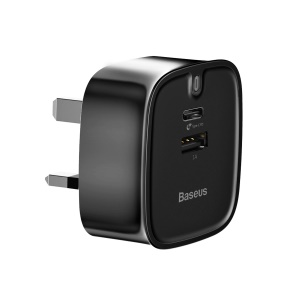 Baseus Funzi QC3.0 3A(Max) Type-C PD Fast Charging + USB Output Wall Charger for MacBook Pro etc.– UK Plug / Black