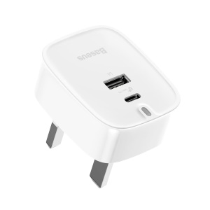 BASEUS Funzi 30W 5V/1A USB Port + Type-C PD3.0 Quick Charge Wall Charger for MacBook Pro etc. - UK Plug / White