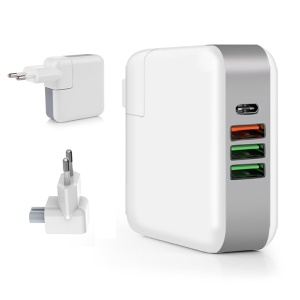 61W Multi-port Quick Charge 3.0 PD Type C Power Delivery Charger Adapter - EU Plug