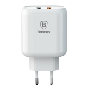 BASEUS Bojure Series QC3.0 Dual USB Travel Wall Charger for iPhone Samsung - EU Plug / White