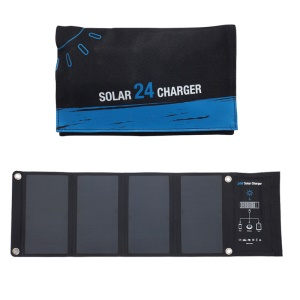 24W Foldable Solar Powered Charger Portable Fast Charging Solar Bag with 3 USB Ports