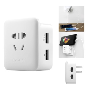 PISEN KU-12 Dual USB Ports Mini Socket AC Outlet Mini Power Wall Adapter - US Plug