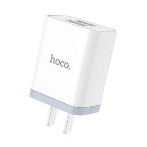HOCO C50 Luster Sharp Dual USB Wall Charger Adapter for iPhone iPad Samsung Sony - US Plug / White
