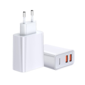 BASEUS BS-CH906 Speedy Series Dual USB QC Quick Charger 30W - EU Plug / White
