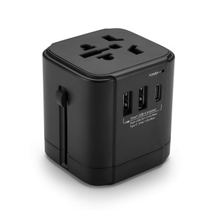 Multi-function High-power AC 4.5A USB+3A Type-C Port EU/US/UK/AU Wall Travel Charger Adapter Converter - Black