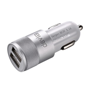 DEVIA 3.1A Dual USB Ports Aluminum Car Charger for iPhone iPad Samsung LG - Silver