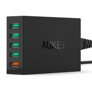 AUKEY PA-T1 4+1 5-Port 54W USB Wall Charger Travel Charger with Quick Charge 2.0 Port - EU Plug