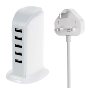 30W 6A 5-Port USB Charging Station for Smartphones Tablets - UK Plug