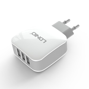 LDNIO DL-AC70 Multiple Three USB Travel Charger with EU Plug for iPhone iPad Samsung LG Xiaomi