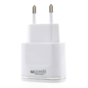 2.1A Dual-Port USB Wall Charger EU Plug with Micro USB Cable for Samsung HTC - Silver
