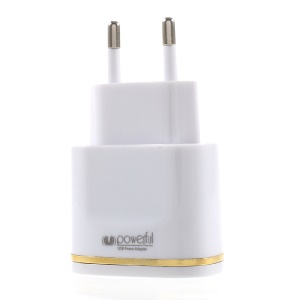 2.1A Dual-Port USB Travel Charger EU Plug with Micro USB Cable for Samsung HTC - Gold