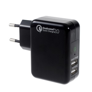 YOUWAY Quick Charge 2.0 EU Plug Wall Charger with 2 USB Ports (CE/FCC/RoHS certifications) - Black