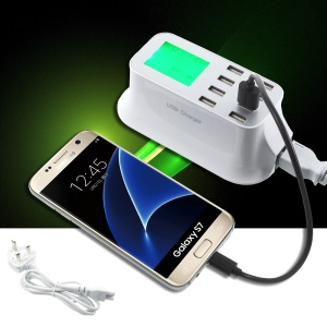 YC-CDA19 5V 8A 8-USB Smart Charger with LCD Battery Status Display - EU Plug