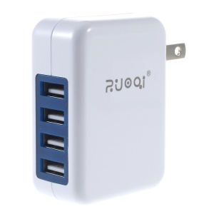 ZUOQI 4-Port 5V 4.8A USB Home Travel Wall Charger Foldable US Plug (CE/RoHS/FCC)