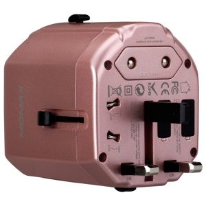 MOMAX 1-World AC USB Travel Charger with EU/US/UK/AU Plugs (CE/RoHS/FCC) - Rose Gold
