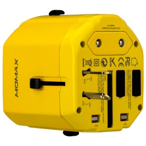 MOMAX 1-World AC Dual USB Wall Charger EU/US/UK/AU Plugs Adapter (CE/RoHS/FCC) - Yellow