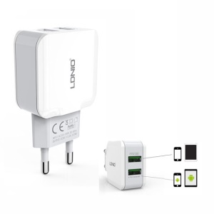 LDNIO A2202 2.4A Dual USB Wall Charger Adapter for Home Travel Office - EU Plug