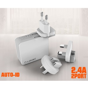 LDNIO A2203 Folding 2 Ports Wall Travel Charger for iPhone Samsung Sony - EU Plug