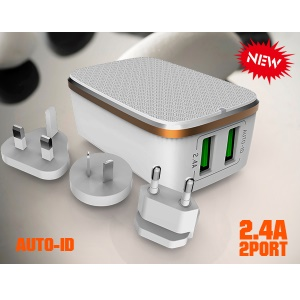 LDNIO A2204 Folding 2 Ports Wall Travel Charger for iPhone Samsung Sony - EU Plug