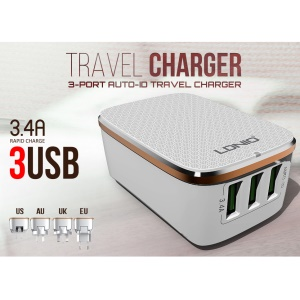 LDNIO A3304 3 USB Wall Travel Charger with Auto-ID for iPhone iPad Samsung - EU Plug