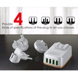 LDNIO A4404 4.4A 4-Port USB Wall Charger with Auto-ID for iPhone iPad Samsung - EU Plug