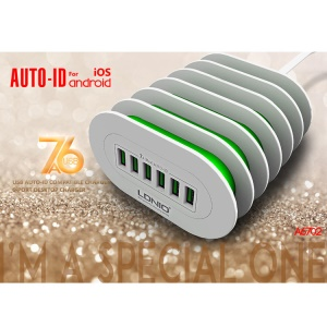 LDNIO A6702 CE RoHS 6-port Portable Wall Travel Charger for Samsung iPhone - UK Plug