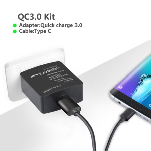 ITIAN K6 Quick Charge 3.0 Wall Charger + USB Type-C Cable Kit for Samsung Galaxy Note7 N930 - US Plug