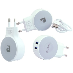 PIERRE CARDIN 2 USB Ports 2.1A Wall Charger Adapter for iOS & Android Systems PCQ-E17 - EU Plug