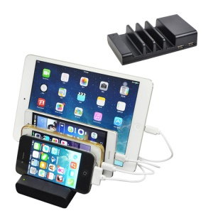 4 USB Port Charging Dock Stand Docking Station for iPhone Samsung Tablet - Black / US Plug