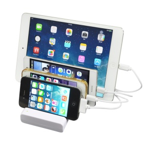 4 USB Port Charging Station Dock Desktop Stand for iPhone Samsung Tablet - White / EU Plug