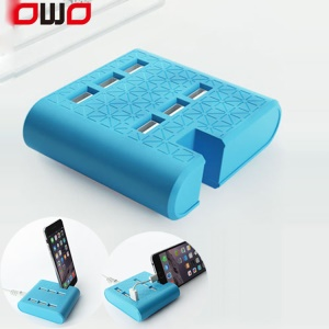 6 USB Ports Travel Home Wall Phone Tablet Holder Charger for iPhone iPad Samsung etc. - EU Plug / Blue